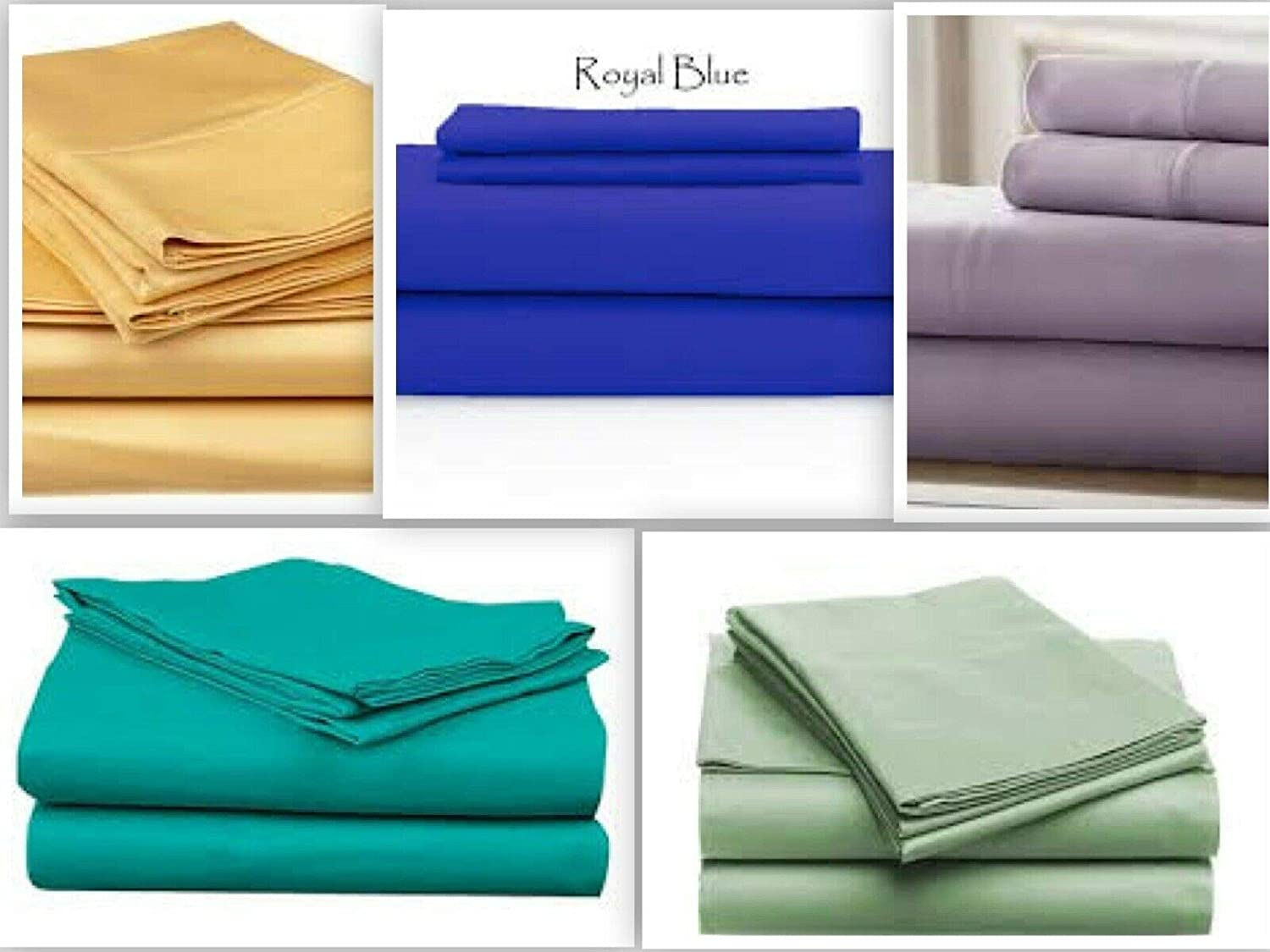 Sage, King Persian Collection Flat Sheet 1800 Count Wrinkle Free Soft Solid Top Sheets New-Size King