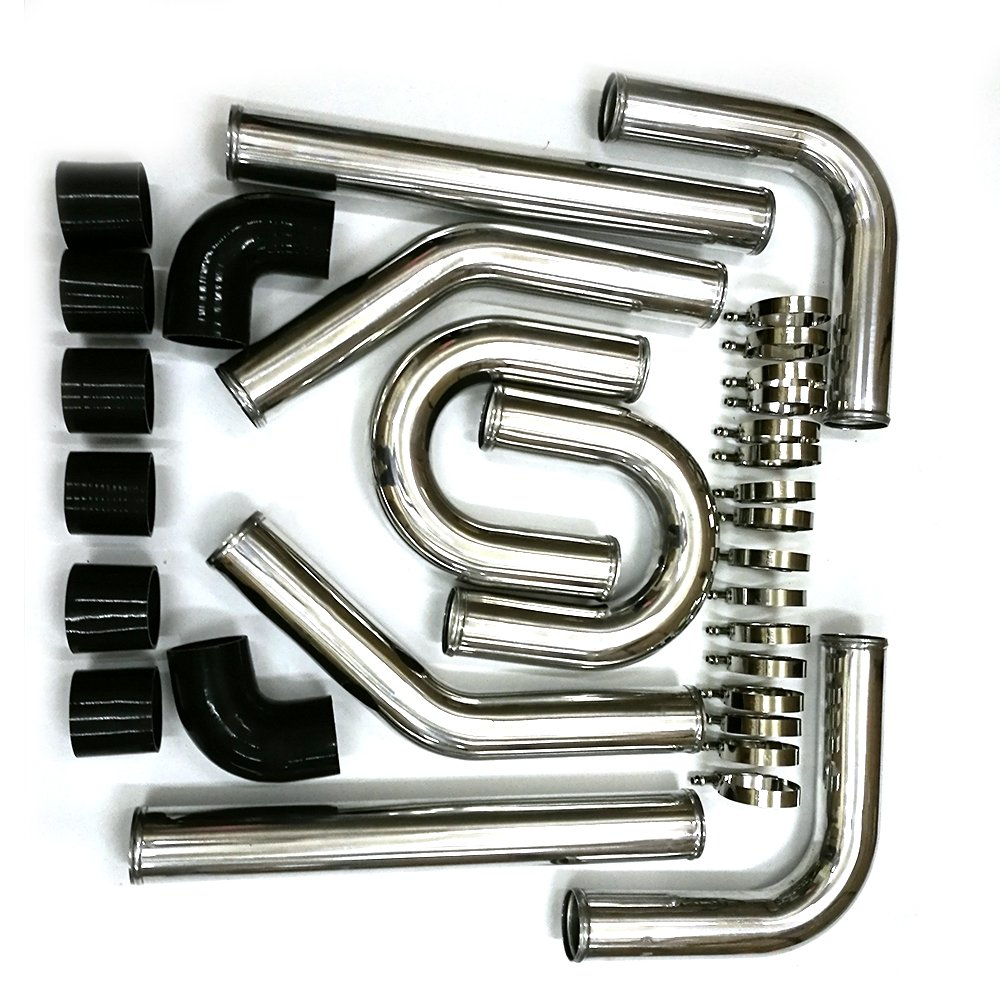SUNROAD 8PCS Universal 3 Aluminum Intercooler Pipe Piping Kit with Black Hose and T-Clamps