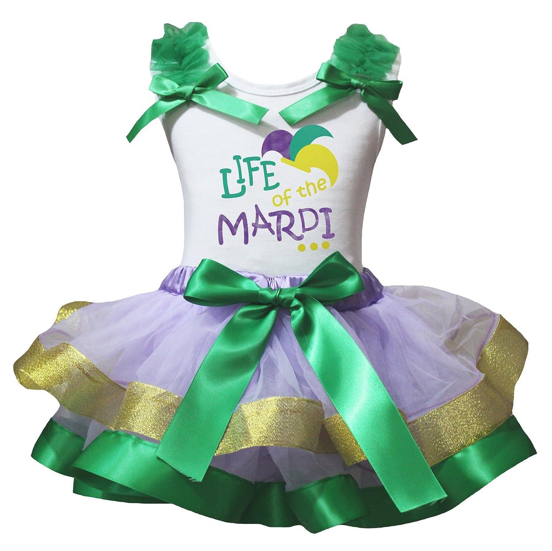 Petitebella Mardi Gras White L//S Shirt Gold Green Lavender Petal Skirt Nb-8y
