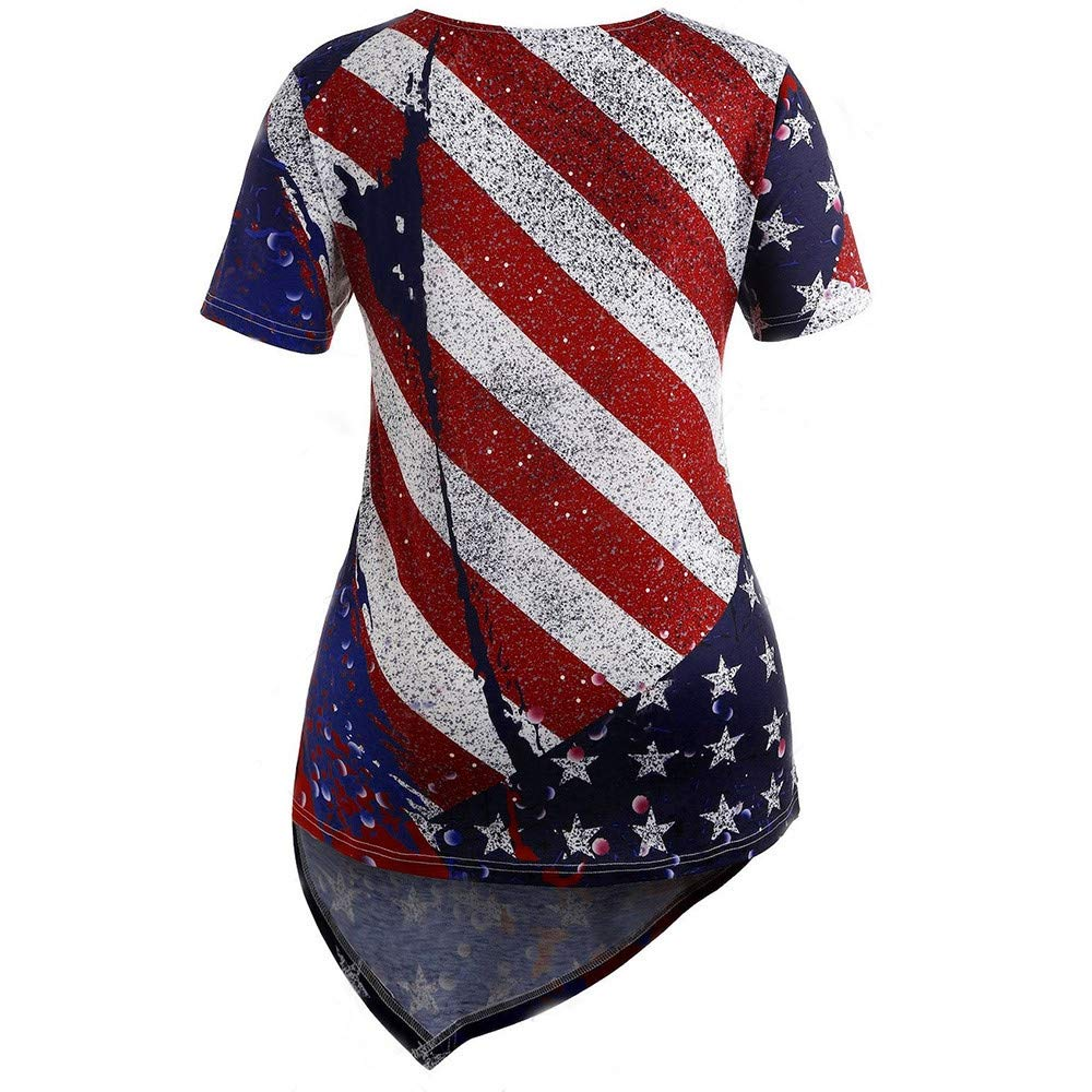 Fangren Womens American Flag Printed T-Shirt Plus Size Independence Day Short Sleeve Blouse Tops