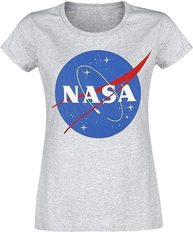 Nasa Circle Logo Mujer Camiseta Gris Marengo, Regular: Amazon.es: Ropa y accesorios