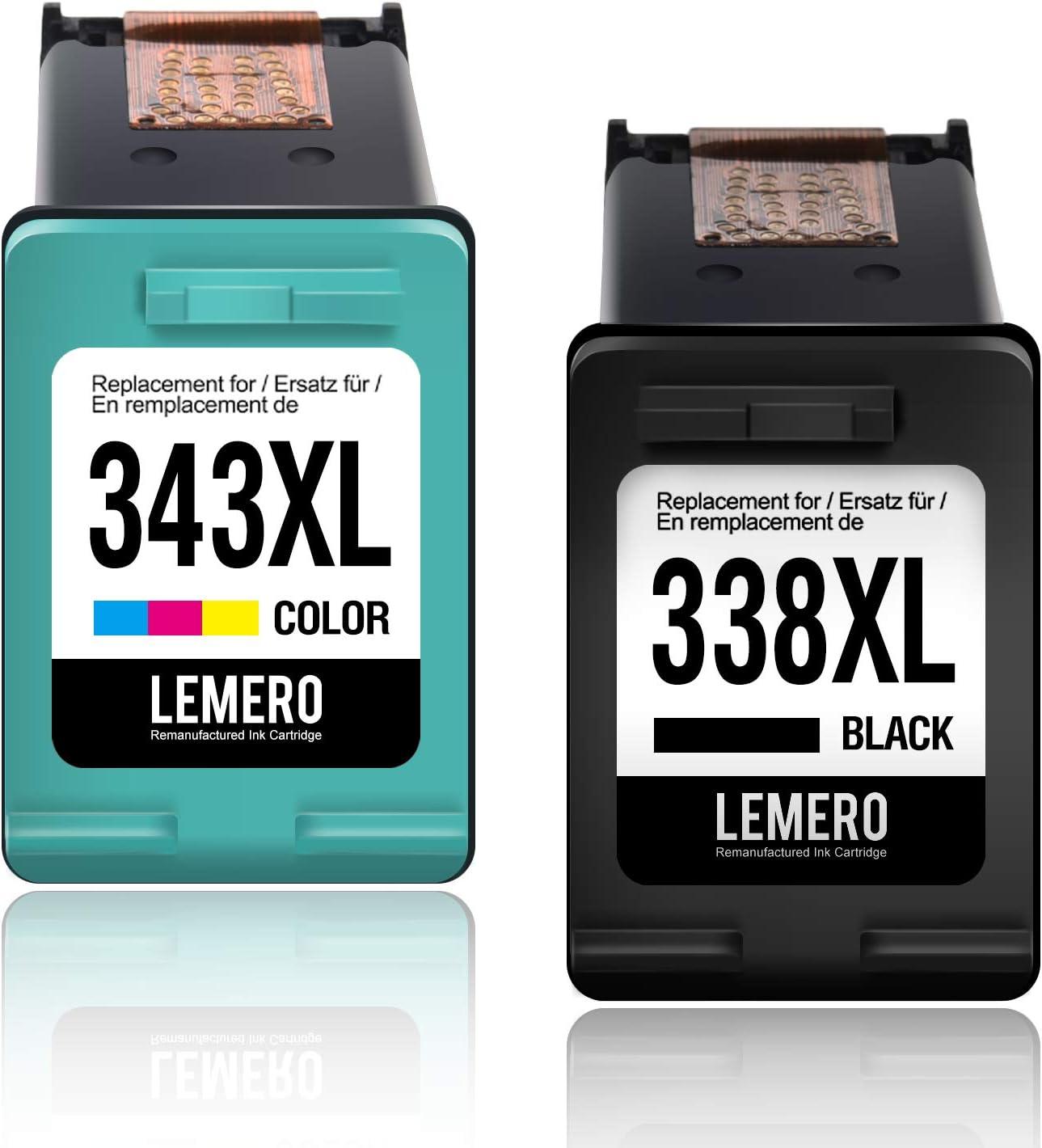 2 LEMERO Remanufacturado Cartuchos de Tinta para HP 338XL 343 XL ...