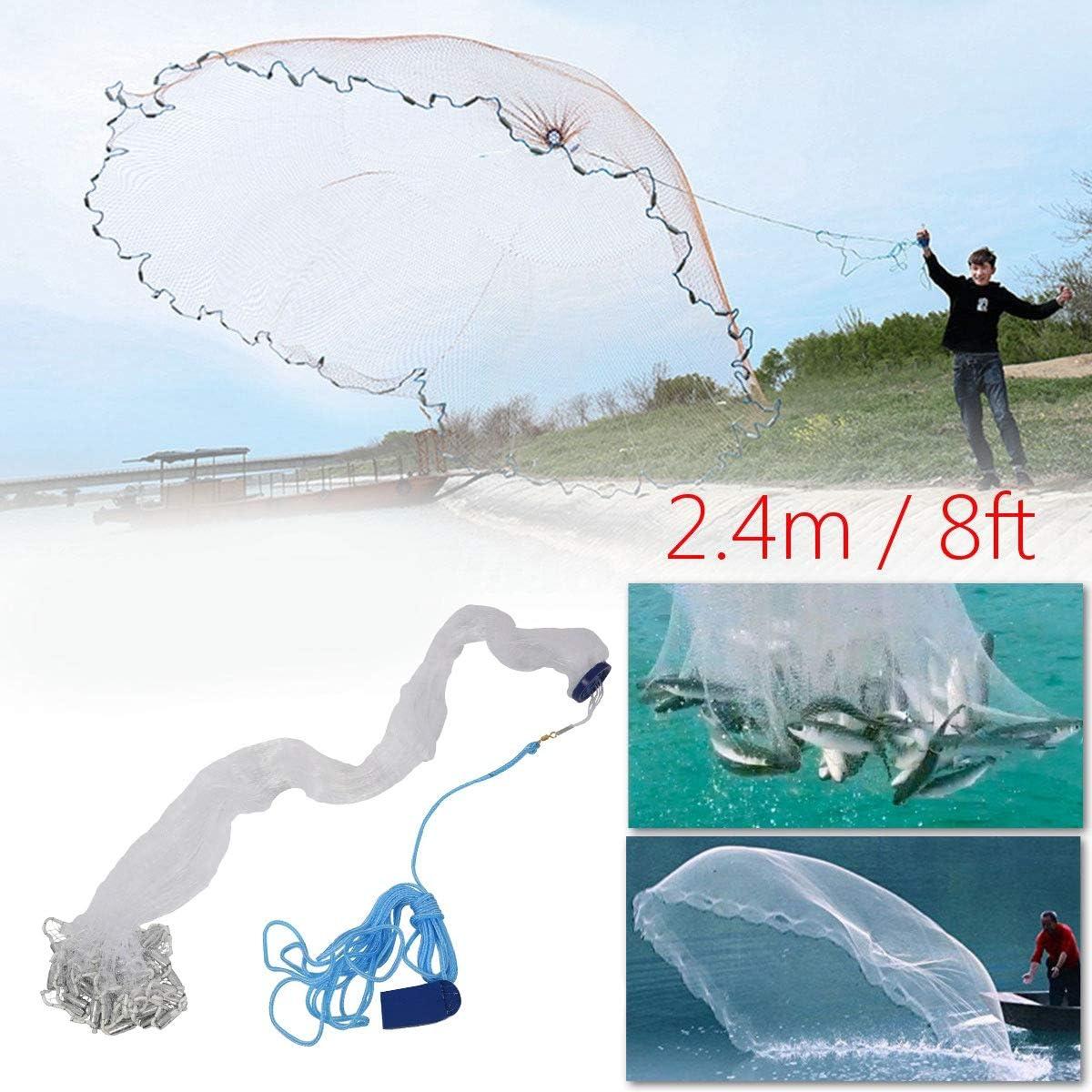 1,9 cm Starkes Nylon-Netz leicht zu /überwurfen WOVELOT Angelnetz 2,4 m Sinker