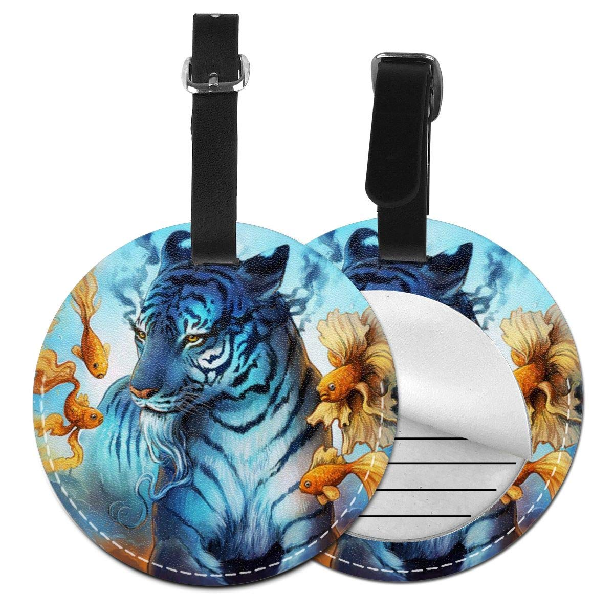 RITGOWWV PU Leather Luggage Tags 3D Print White Water Tiger Suitcase Labels Bag Travel Accessories