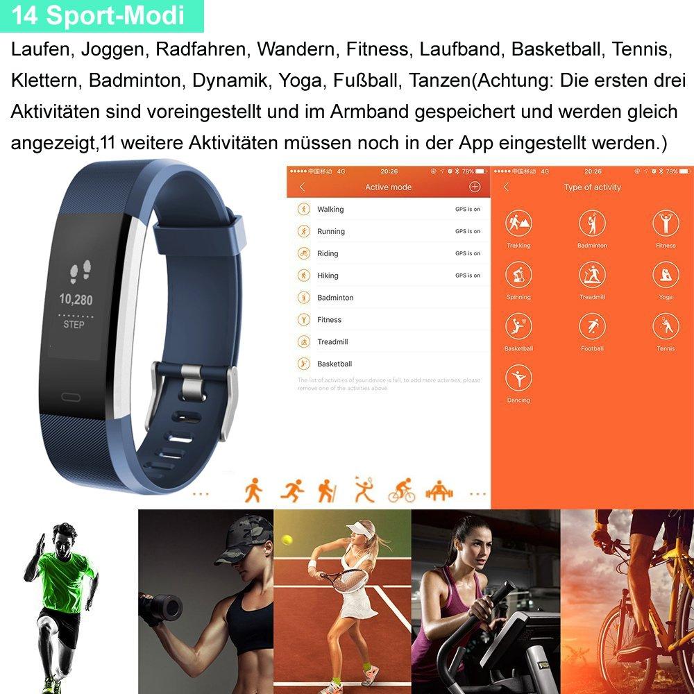 Asia Long brazalete de fitness con pulsómetro - Podómetro Reloj ...