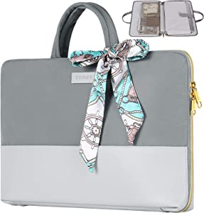 Laptop Case for Women, 15.6 inch Slim Water Resistant TSA Business Travel Laptop Sleeve, Girl Lady Handbags Portable Briefcase Fit for 15.6 inch HP Dell Lenovo Notebook, Gift for Women, Grey