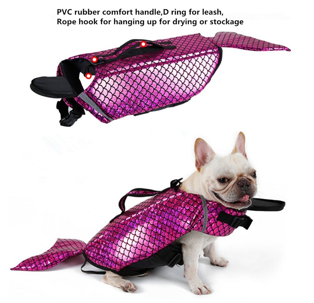 CHUCHU Newest Dog Life Vest Summer Pet Puppy Life Jacket Safety Summer Animal Clothes Cute Mermaid Shark Large Breeds Costume L by CHUCHU (Image #1)