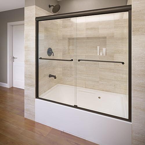 Basco CELH05A6058XPOR Celesta Semi-Frameless Sliding Bathtub Door fits 56 -60 Opening with 3 8 AquaGlideXP Clear Glass, Oil Rubbed Bronze Finish, A0582-60XPOR