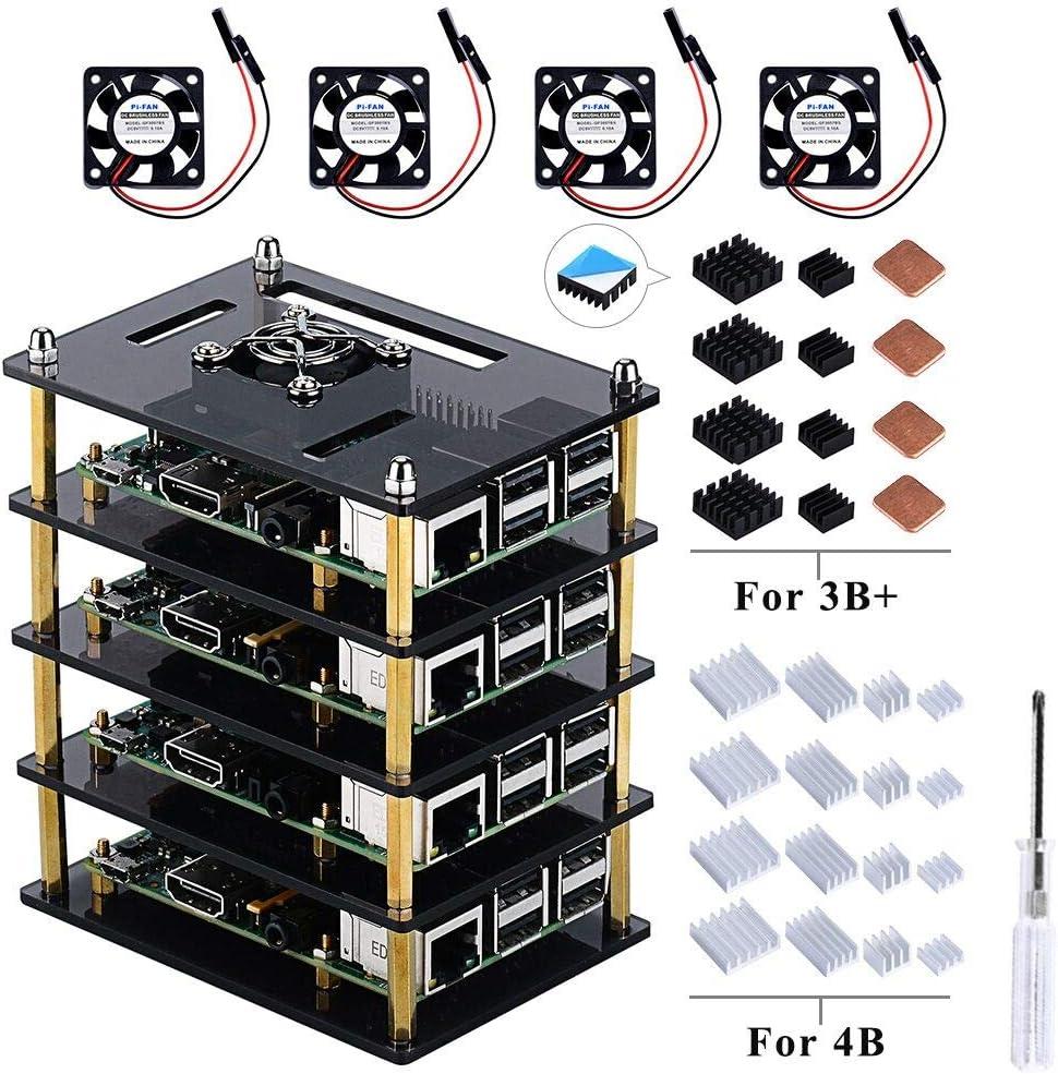 para Raspberry Pi 4 Model B,Raspberry Pi 3 B + Caja con Ventilador ...