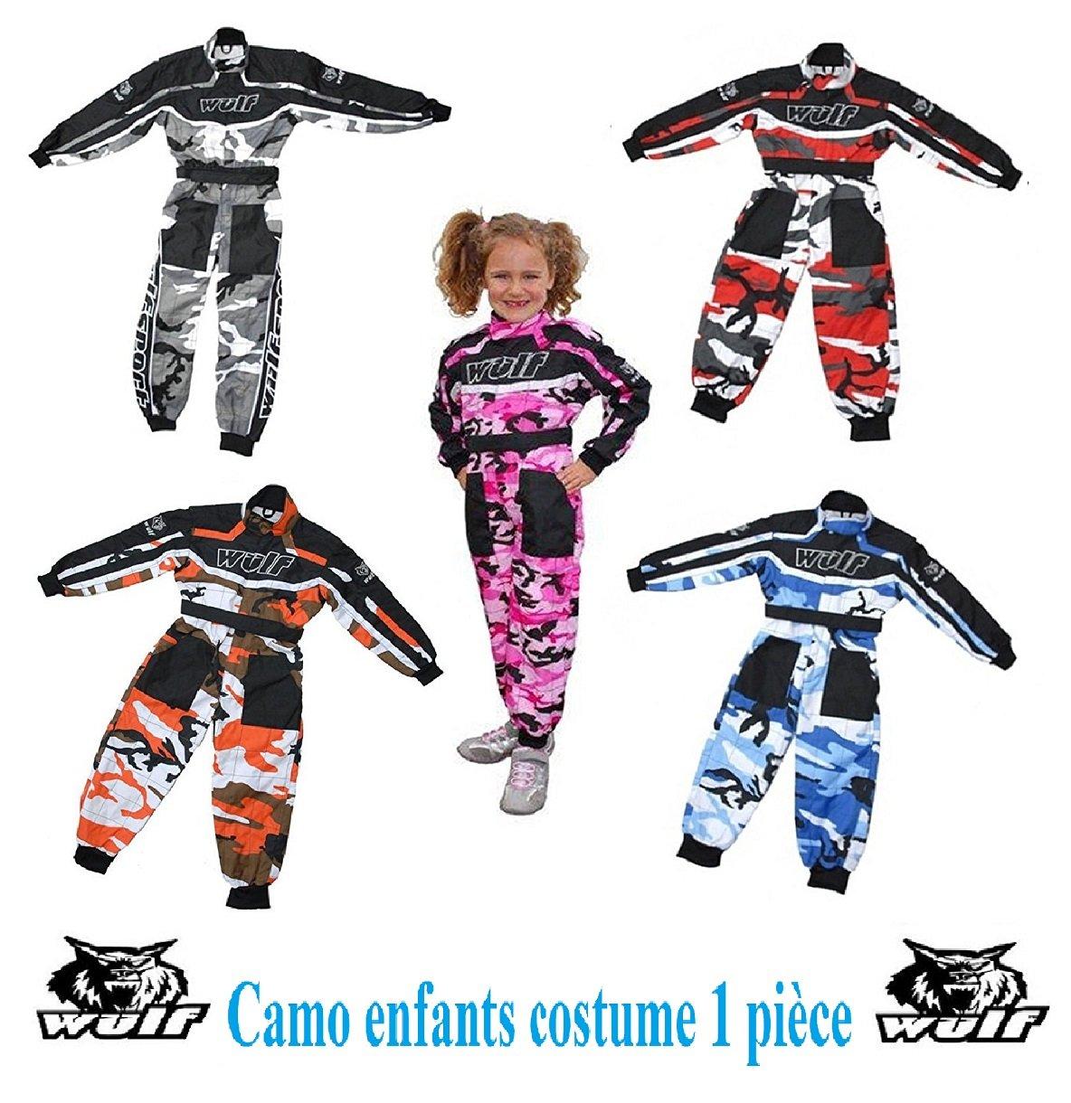 Moto enfant costume WULF CAMO ENFANTS KART COSTUME nouveau garç ons et filles motocross ATV Quad Sport Racing 1 piè ce Combinaison (rouge, 7 - 8 anné es) 7 - 8 années) WULFSPORT