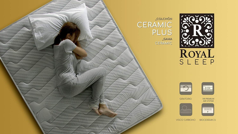ROYAL SLEEP Colchón viscoelástico Carbono 135x190 firmeza Alta, Gama Alta, Efecto regenerador, Altura 25cm - Colchones Ceramic Plus: Amazon.es: Hogar
