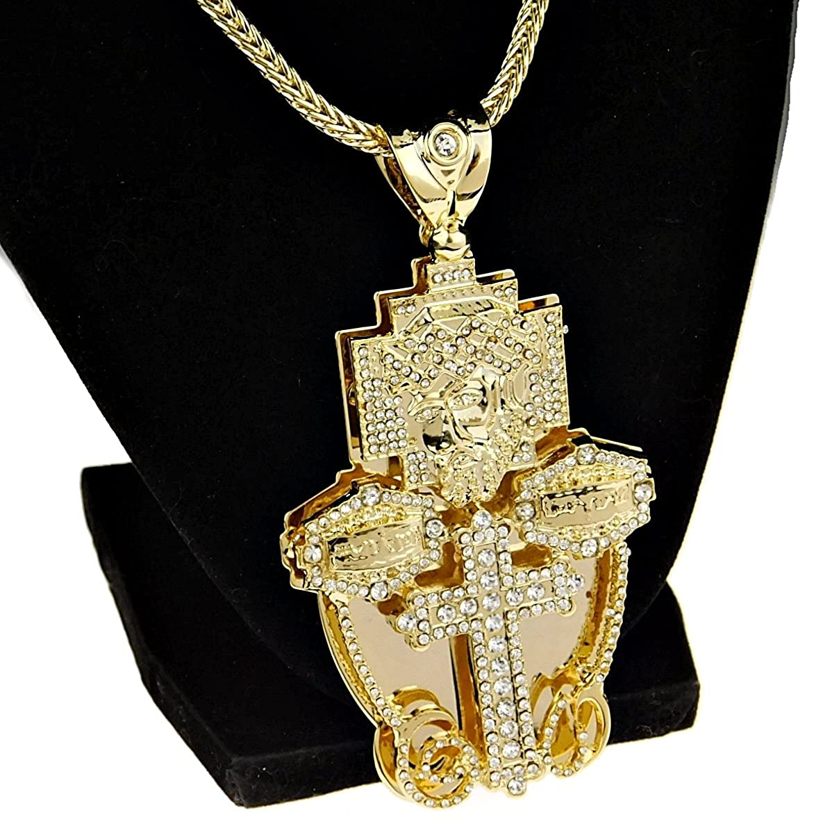 Amazon.com: Bling Cartel Jesus Piece Last Supper Cross Combo ...
