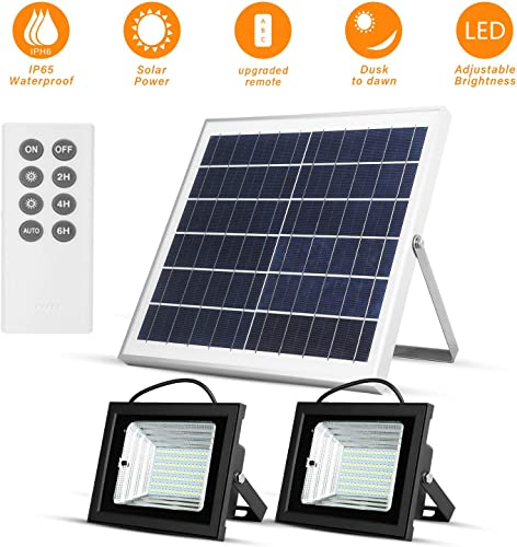 Richarm Solar Flood Lights Remote Control Outdoor Solar Powered Led Floodlights 15W 13.8 Light Sensor Solar Panels 800LM Dual 112LED 6500K White Lights IP65 Waterproof Street Lights for Barn Sign Po