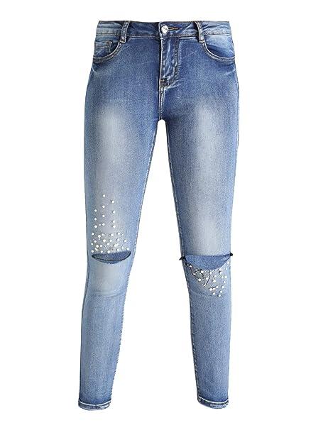 FARFALLINA Jeans Strappati con Perle  Amazon.it  Abbigliamento 61132885117