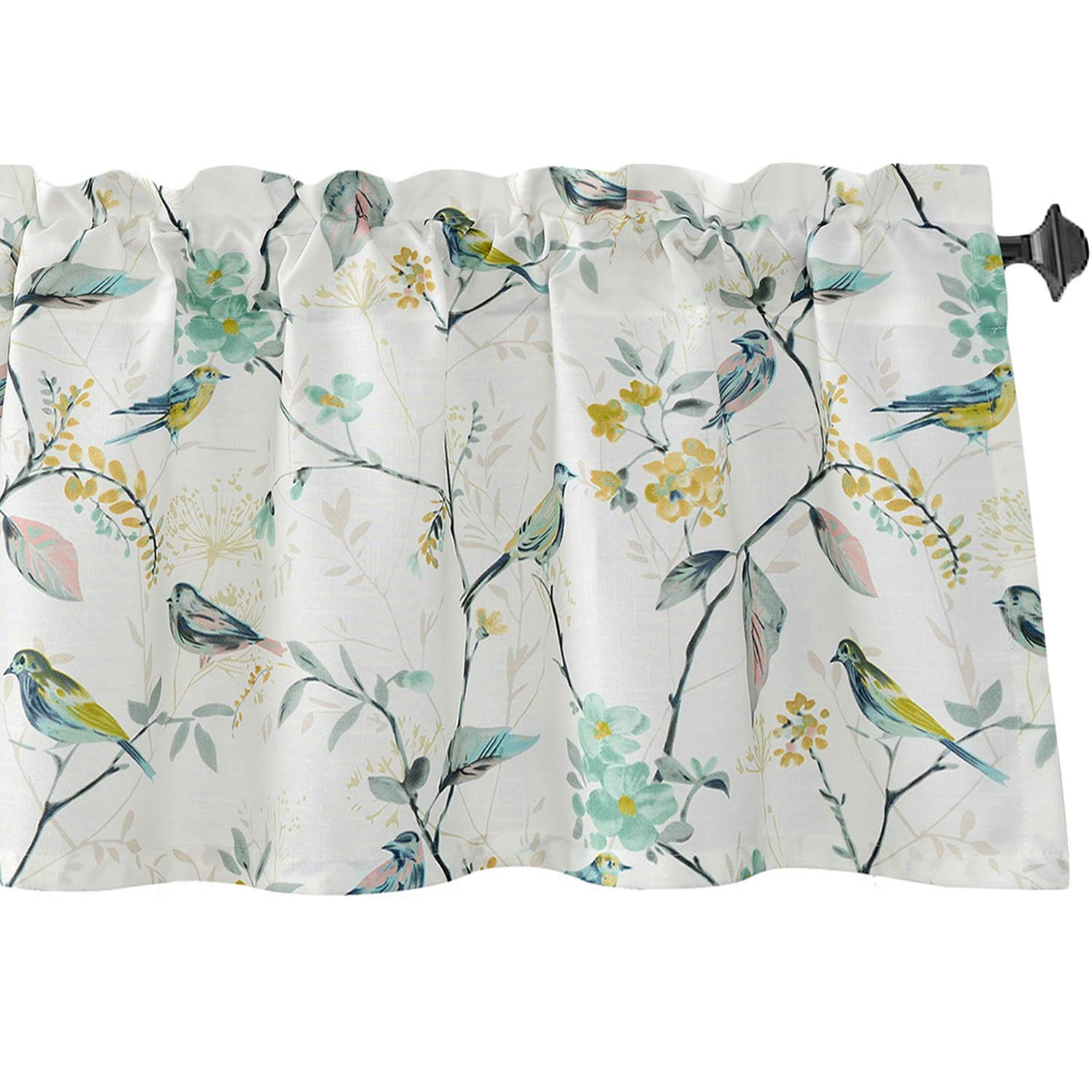 VOGOL Bird Pattern Kitchen Valances for Windows, Window Valance Curtains for Living Room Bathroom Pocket Valance 52 Inch Wide by 18 Inch Long