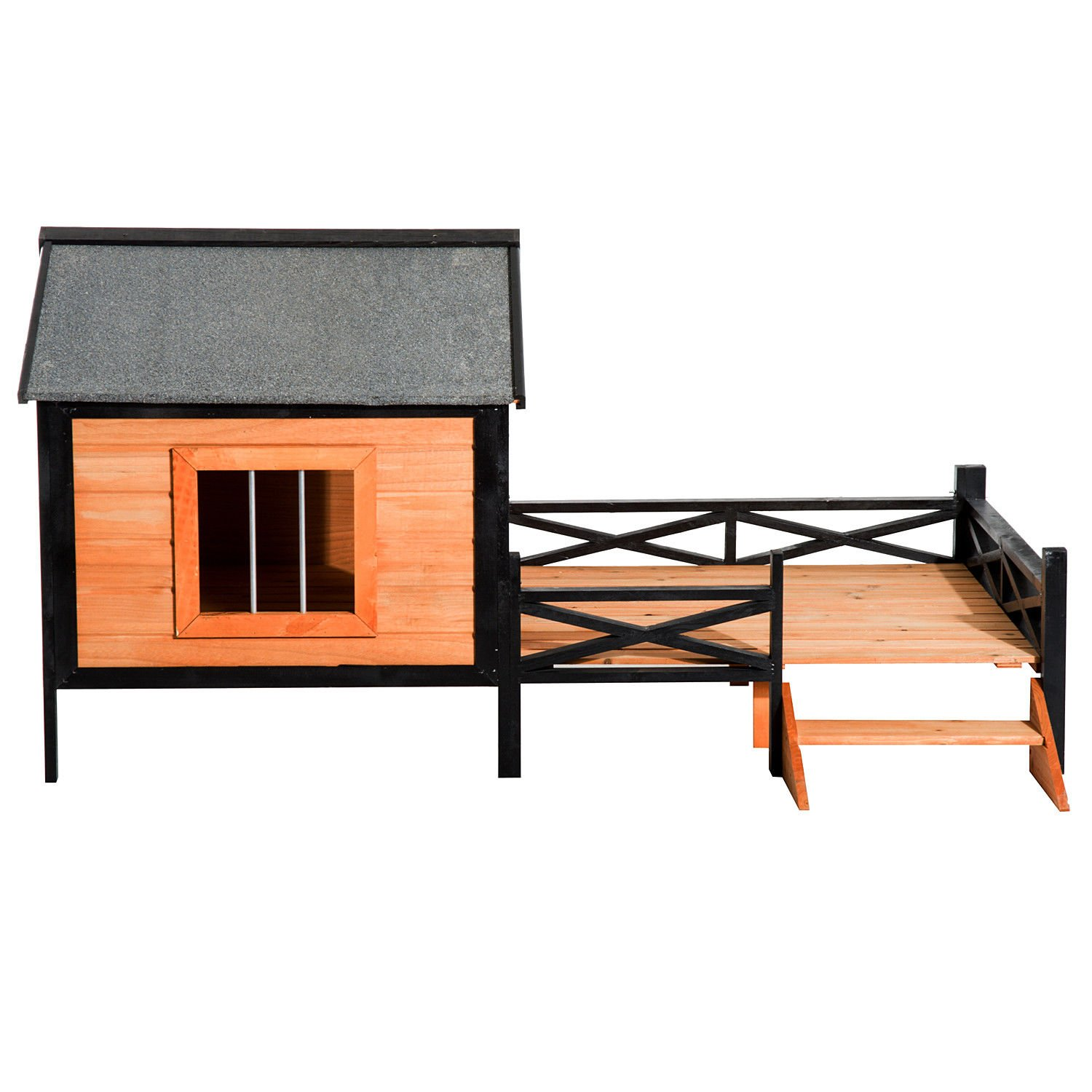 PawHut 67'' Large Wooden Cabin Style Elevated Outdoor Dog House with Porch by PawHut (Image #3)