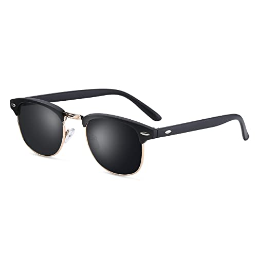 b6428c55e3 Clubmaster Sunglasses for Men Women - wearpro Retro Semi-Rimless Polarized  Sun Glasses WP1006 (
