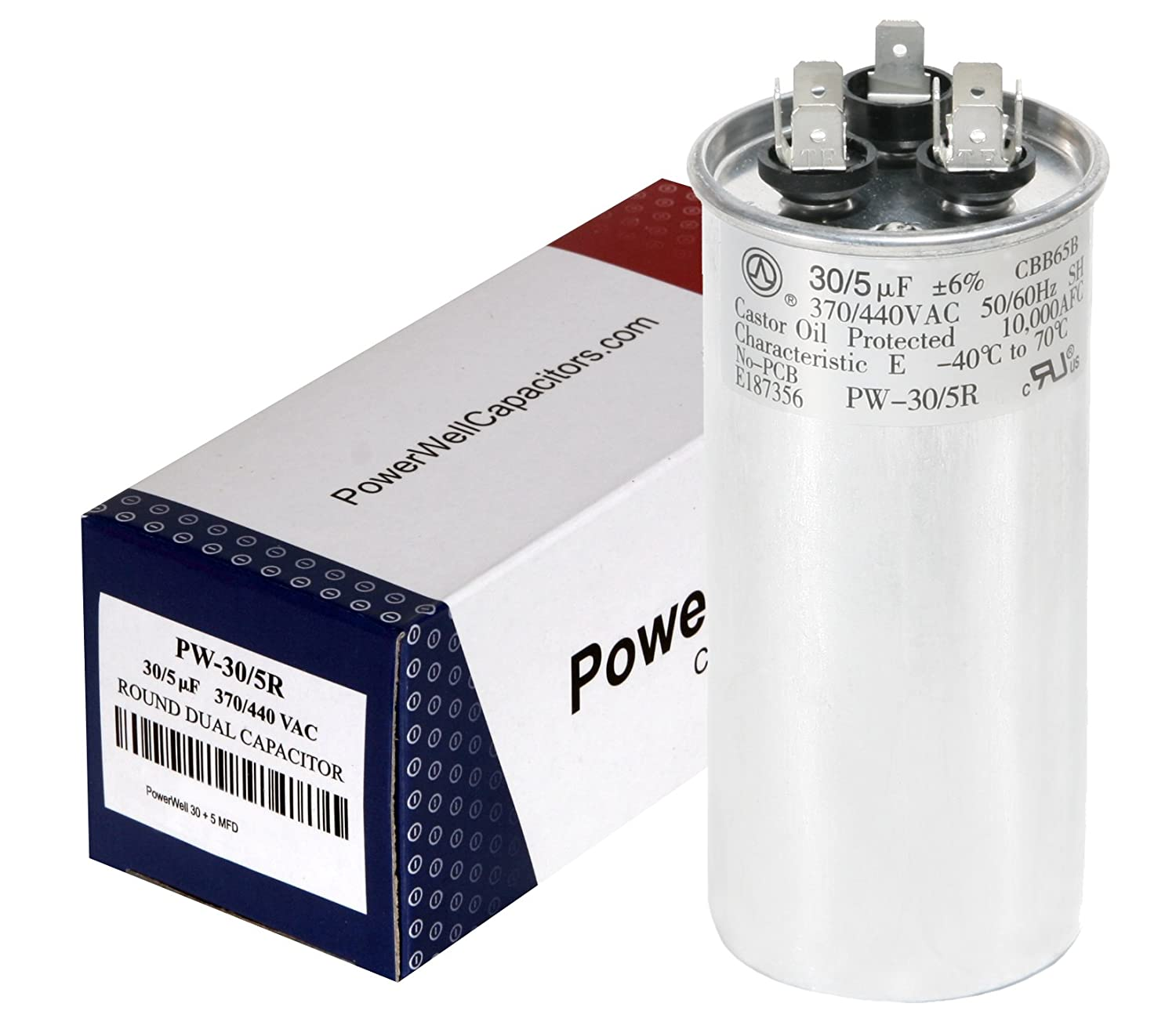 PowerWell 30 5 MFD uf 370 or 440 Volt Dual Run Round Capacitor PW-CAP-30/5/370-440R on