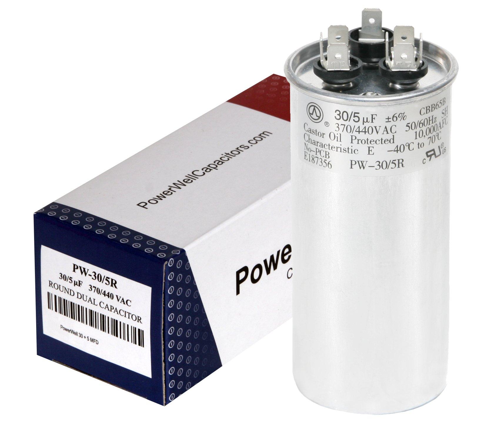 PowerWell 30 + 5 MFD uf 370 or 440 Volt Dual Run Round Capacitor Bundle PW-CAP-30/5/370-440R for Condenser Straight Cool or Heat Pump Air Conditioner