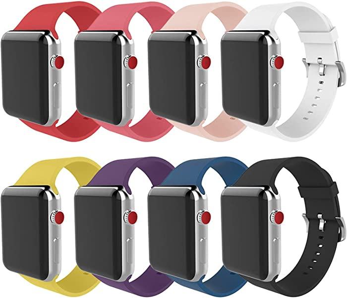 BMBEAR Compatible apple watch band 38mm 42mm Soft Silicone Replacement iWatch band for Apple Watch Series 3 Series 2 Series 1