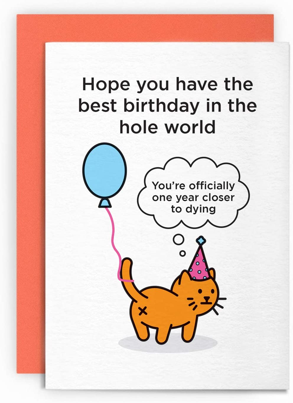 Birthday Card Funny Cat Animal Husband Wife Boy Friend Girl Friend Mum Dad Greeting For Him Her Joke Lol Pun Officially One Year Closer To Dying Amazon Co Uk Office Products