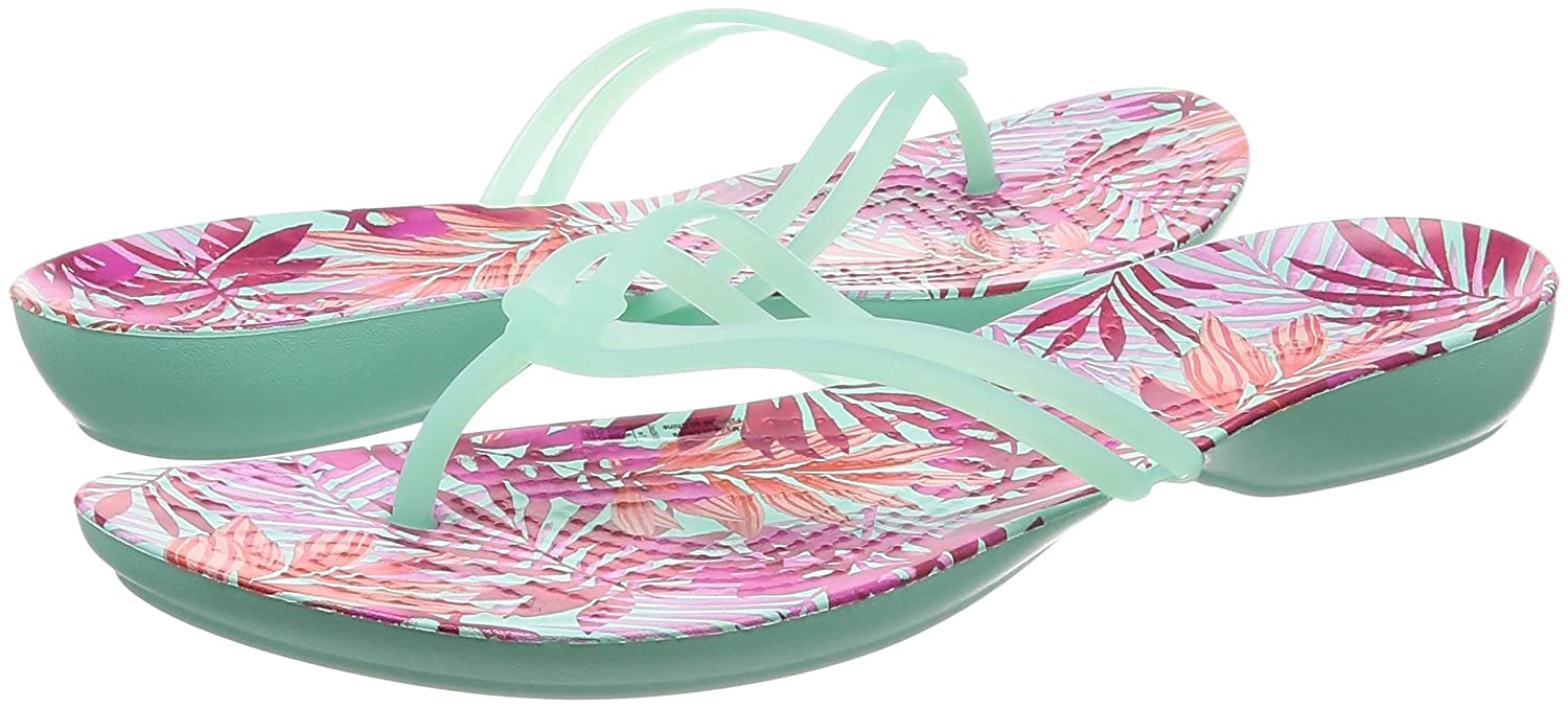 Crocs Isabella Damen Isabella Crocs Graphic Zehentrenner New Mint/Tropical 17a674