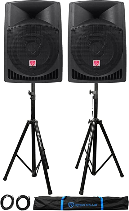 2 Cables+Bag 2 Stands Pair Rockville RPG12 12 1600w Powered PA/DJ ...