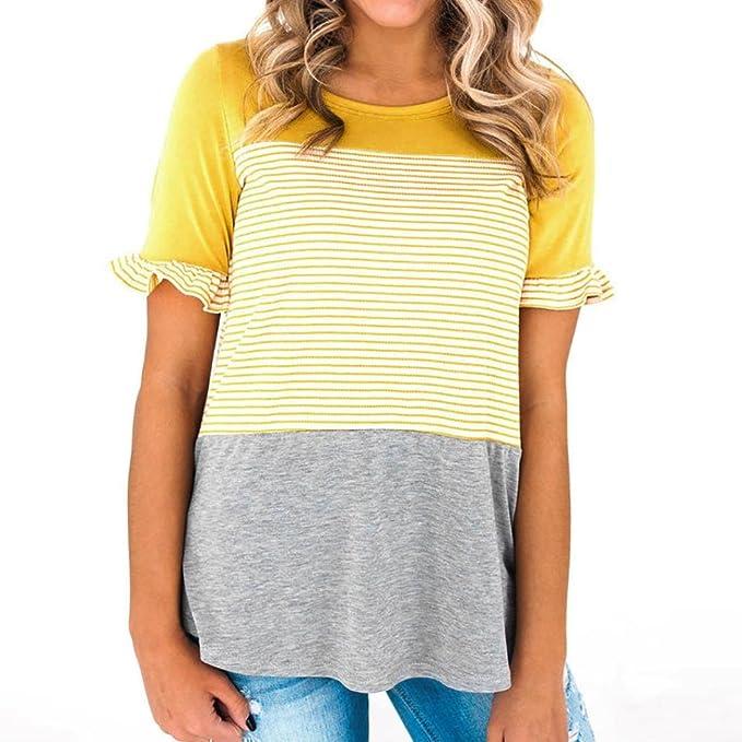 OHQ Camiseta A Juego con Rayas A Juego De Mujer,Las Mujeres Cosiendo A Rayas