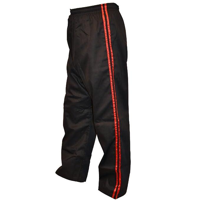 TurnerMAX Artes Marciales Karate Pantalones Negro con Red Stripe