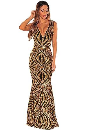433af6c3a8 LETSDO Women Prom Evening Dress Formal Ball Black Gold Sequins Gown ...