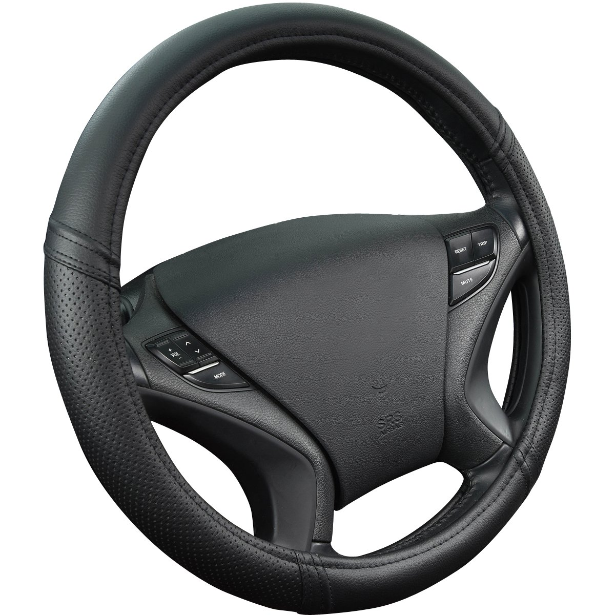 New Arrival Car Pass Classical PULeather Automotive Universal Steering Wheel Covers Full black color