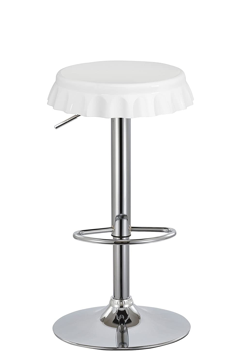 Duhome 2 PCS Contemporary Soda Bottle Cap Style Swivel Bar Stools ABS Seat White