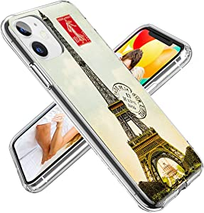 iPhone 11 Case Cute for Girls, ChiChiC 360 Full Protective Shockproof Thin Slim Flexible Soft TPU Clear Case Cover with Design for iPhone 11 XI 6.1,Vintage Postcard with Eiffel Tower in Paris