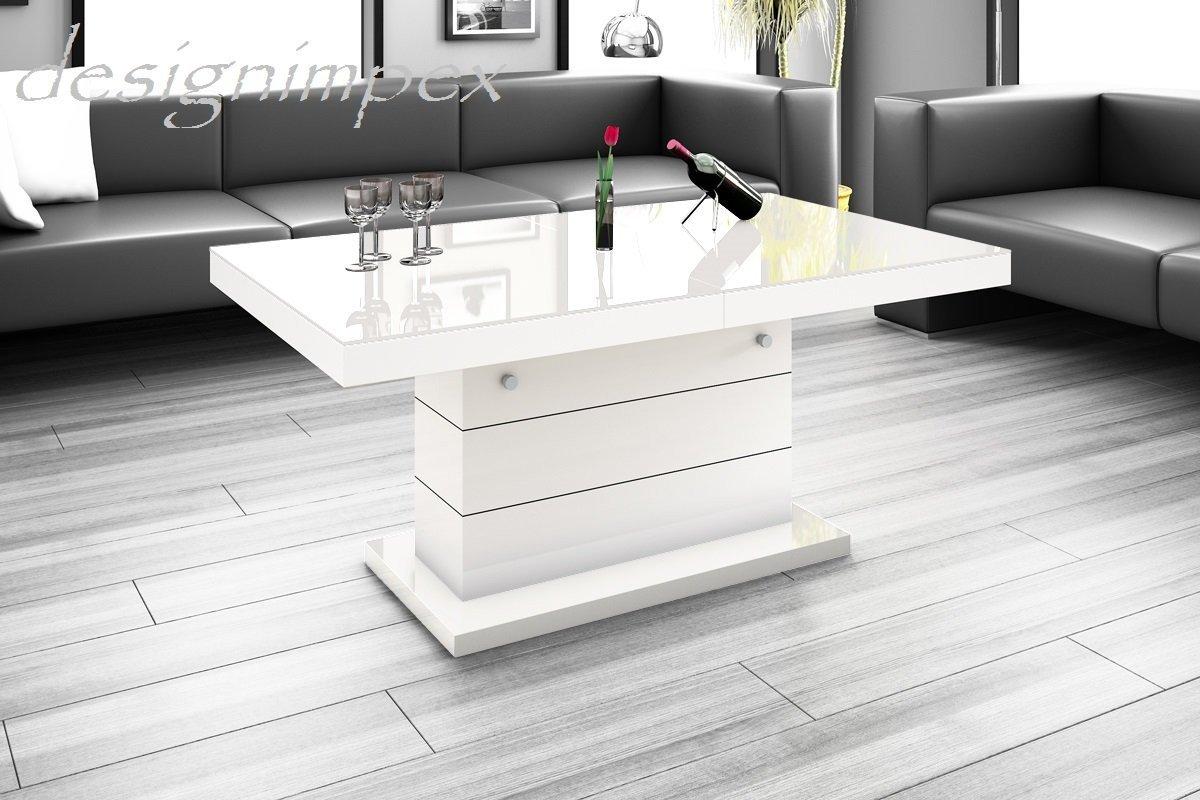 Design Couchtisch H-333 Weiß Hochglanz höhenverstellbar ausziehbar ...