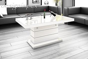Design Couchtisch H 333 Weiss Hochglanz Hhenverstellbar Ausziehbar Tisch