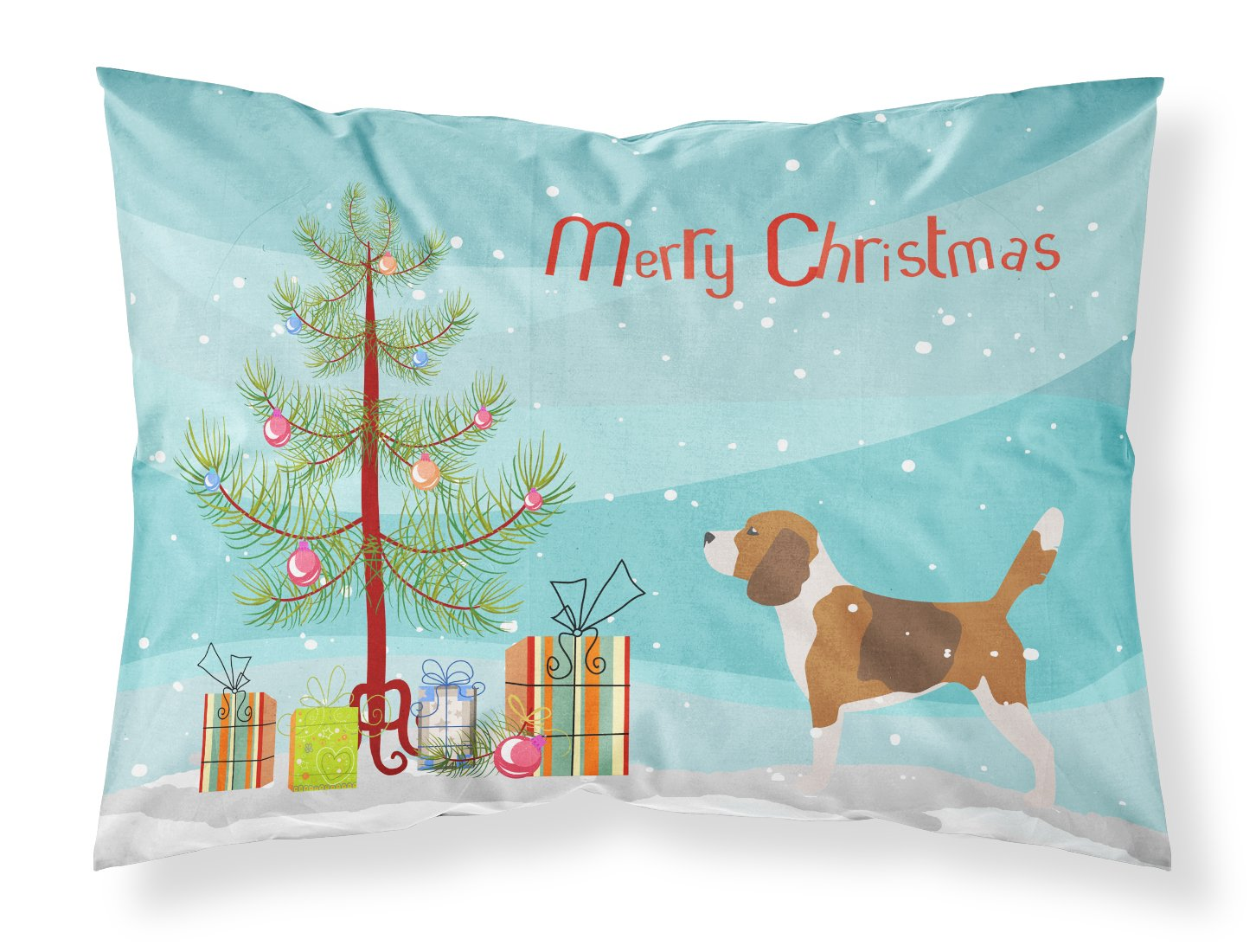 Caroline's Treasures BB2928PILLOWCASE Beagle Merry Christmas Tree Fabric Pillowcase, Standard, Multicolor Caroline' s Treasures