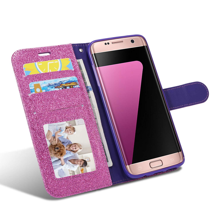 Huphant kompatibel mit Samsung Galaxy S7 Handyh/ülle Glitzer Leder H/ülle Wallet Flip Schutzh/ülle Tasche mit Samsung Galaxy S7 Kartenfach Geldklammer St/änder Kartenf/ächer Magnet Diamant Gold