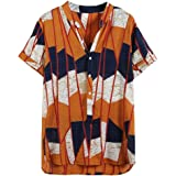 ♛2019 Clearance Sale♛ - Chamery Summer Shirt for MenFahion Mens Printed Lump Short Sleeve Round Hem Loose Shirts Blouse Top