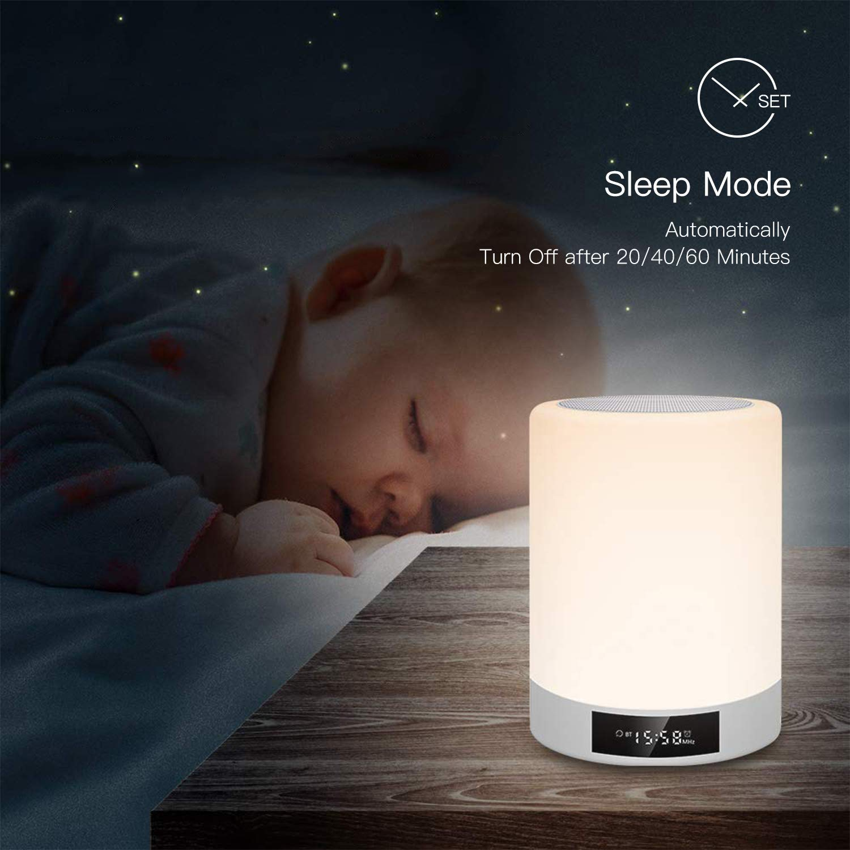 Lampe de Chevet avec Enceinte Bluetooth Musique Tactile Lampe de Table LED Multicolor Rechargeable avec Réveil, Horloge, Radio FM et Mains Libres Support Haut-parleur/Aux/Carte Micro SD Tikitaka