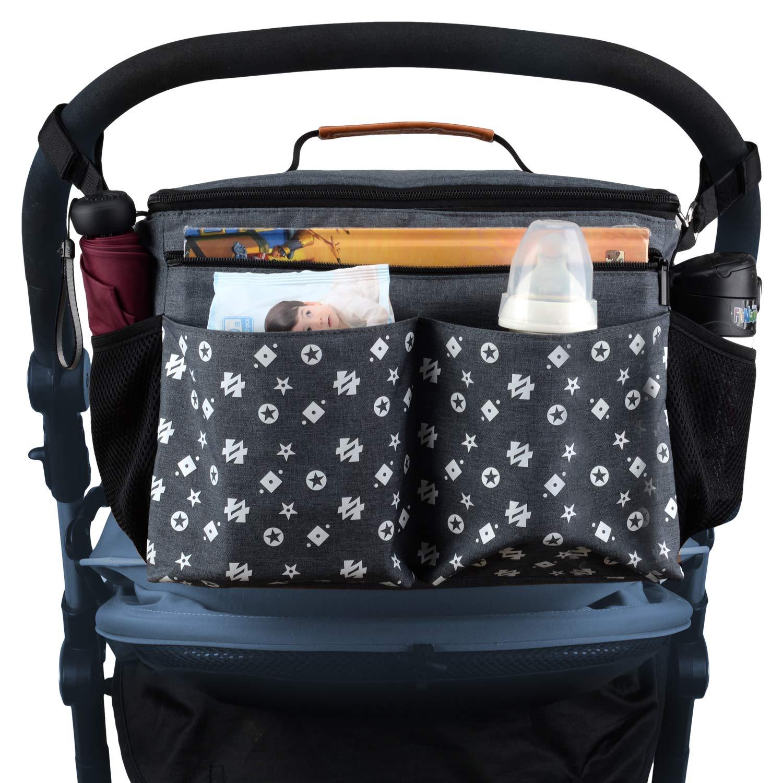 Large Baby Stroller Organizer Diaper Bag with Extra Storage, Easy Installation, Bottle Holders, Shoulder Strap for Stroller Like Uppababy, Baby Jogger, Britax, Bugaboo, BOB, Umbrella & Pet Stroller by Jenleestar (Image #3)