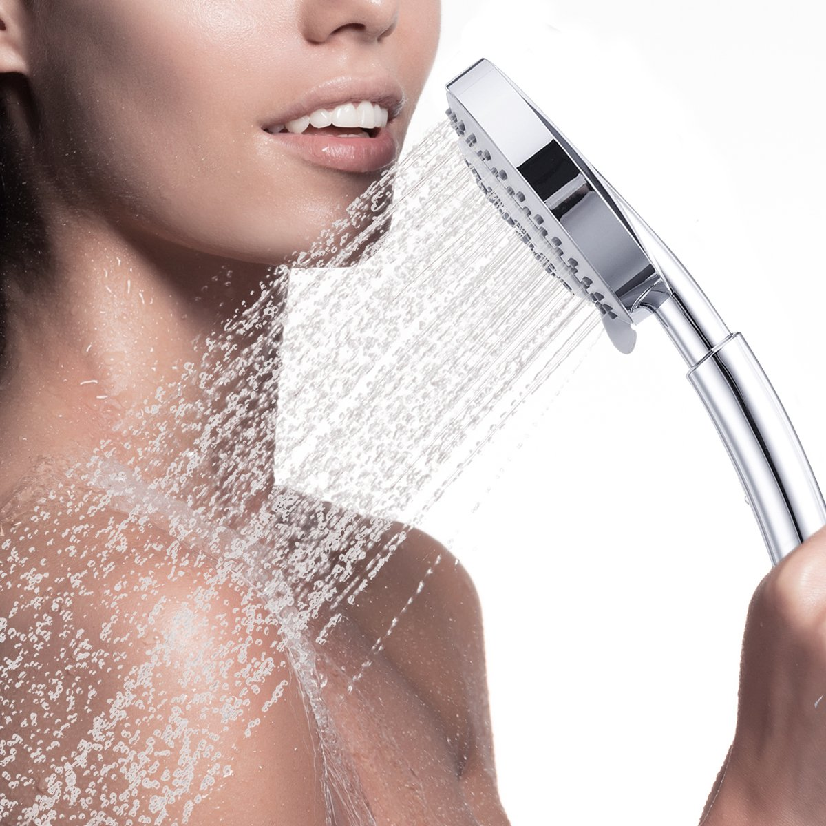 Chrome Moworve Full Flow Massage Rain Waterfall for Your Shower Experience Baban Handheld Shower Head High Pressure Luxury 8 Function Detachable Showerhead with Angle Adjustable Bracket /& Stretchable Hose