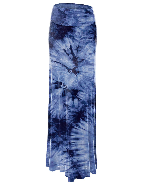 WB1058 Womens Tie Dye Fold Over Maxi Skirt L NAVY