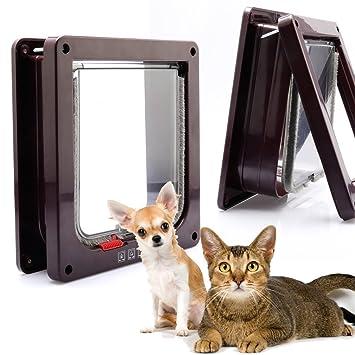 Puerta basculante para gatera, entrada y salida de gatos y perros, controlable, de ABS, superresistente, (L, marrón): Amazon.es: Jardín