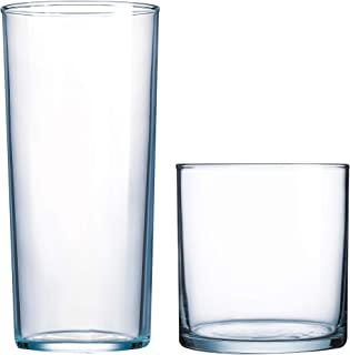 product image for Luminarc N8779 Rike Rika 16 Piece Tumbler Set, 8-15.5 Ounce Coolers & 8-11.5 Ounce On The Rocks Glass, Mixed, 1, Clear