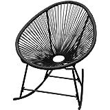VidaXL Chaise de jardin Balançoire chaise fauteuil chaise relax basculant Panier en rotin Noir/Blanc noir