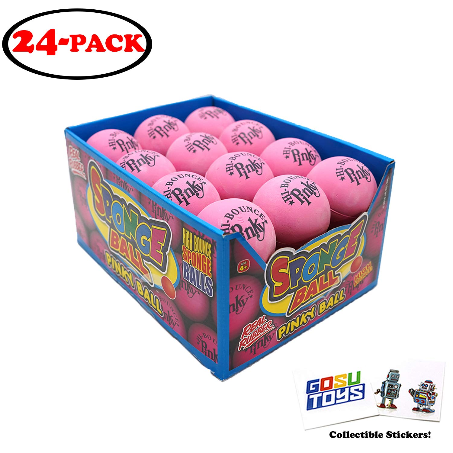 Original Hi Bounce Pinky Ball 2.5'' Large Pink Rubber Ball 24 Pack Bundle Multi Purpose Play Soft Ballet Dance Massage Ball Dog Ball with 2 GosuToys Stickers by Gosu Toys