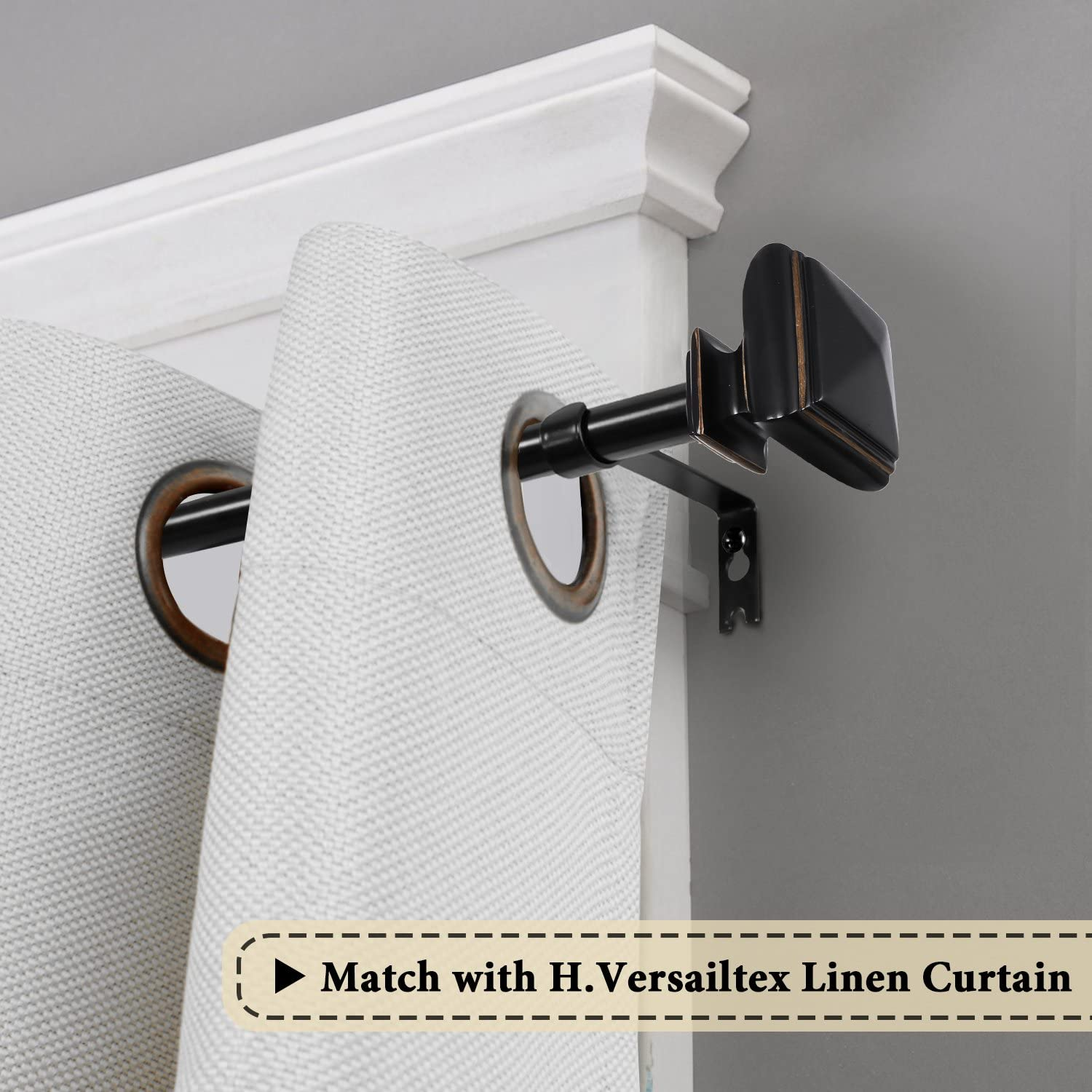 H.VERSAILTEX Classic West Square Window Treatment Sets Arts and Craft 3//4-Inch Diameter Decorative Single Curtain Rod Adjusts from 28 to 48 Inches,Nickel