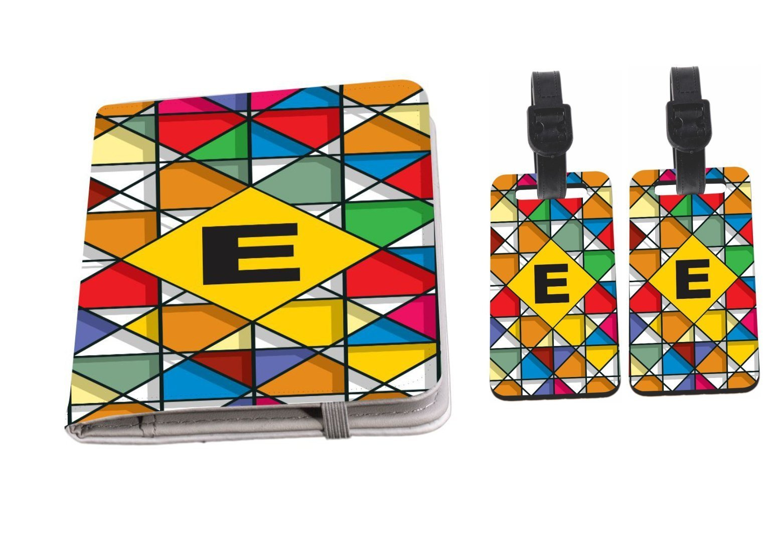 Rikki Knight Letter E Monogram Vibrant Colors Stained Glass Design Passport Holder with slots for Travel documents with 2 matching (1-sided) Luggage Identifier Tags by Rikki Knight