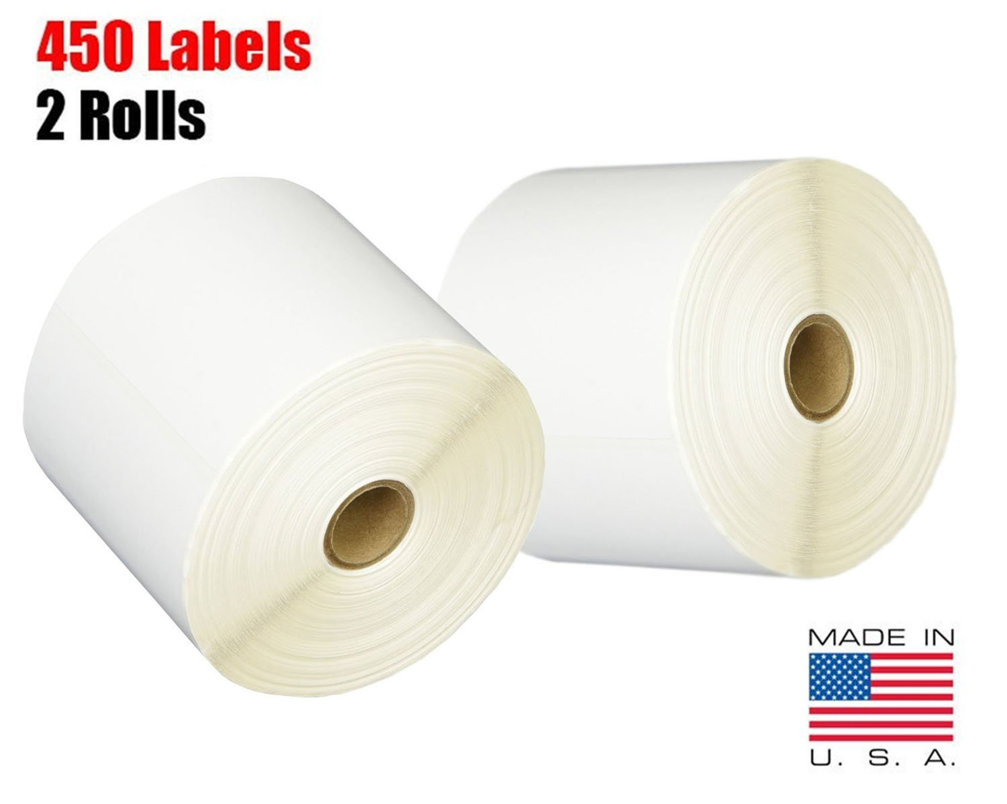 iMBAPrice 2 Rolls of 450 Label (USA Made) 4x6 Direct Thermal for Zebra 2844 ZP-450 ZP-500 ZP-505 Shipping Labels Perfect Roll for 1 INCH CORE Thermal Laser Printers by iMBAPrice (Image #1)