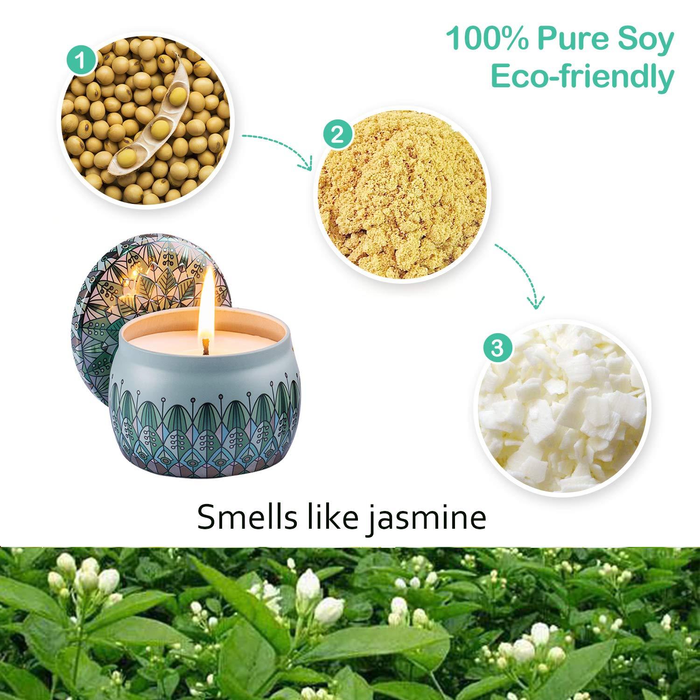 Cera di Soia Naturale per Alleviare Lo Stress e Aromaterapia Amexi Candele Profumate Rosa Gelsomino Set di 2 Set di Candele